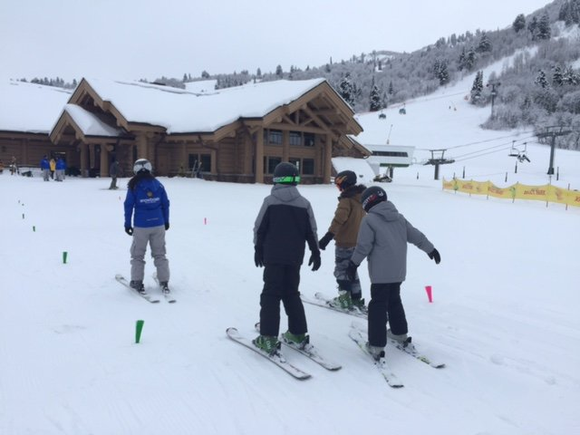 New skiers grab a lesson at the base of Snowbasin. - © Snowbasin