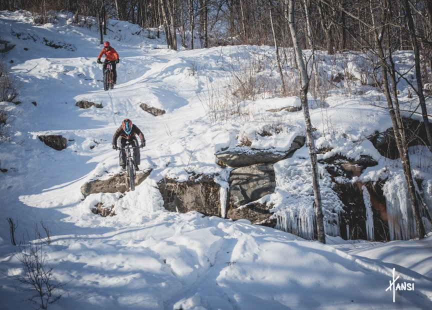 Fat bikers can access summer bike trails to ride on snow at Spirit Mountain. - © Spirit Mountain
