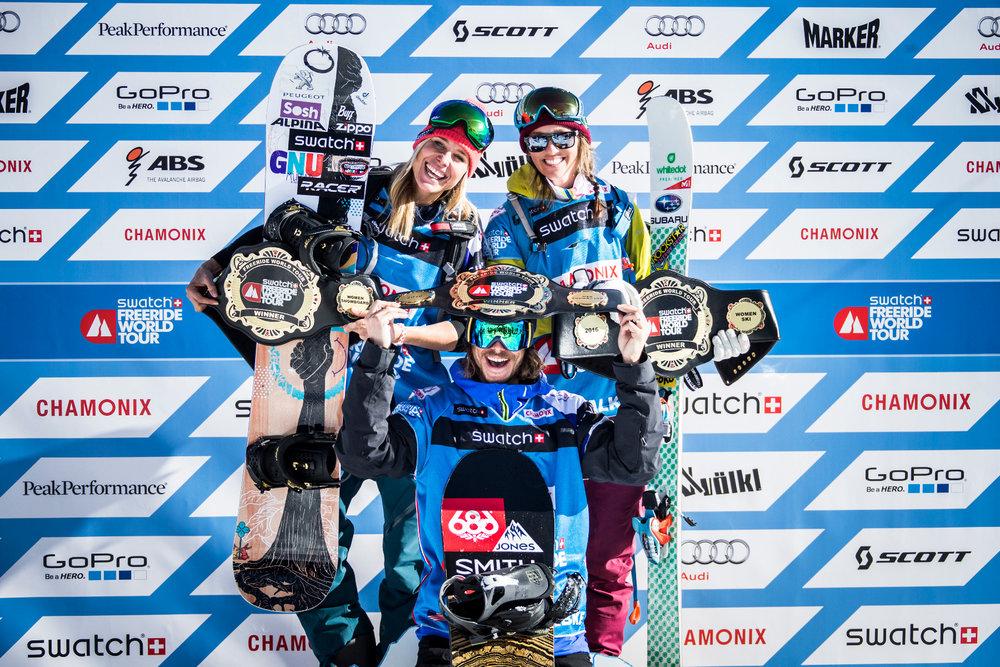 Drei glückliche Sieger bei der Freeride World Tour in Chamonix Mont-Blanc - © www.FreerideWorldTour.com | D. Daher