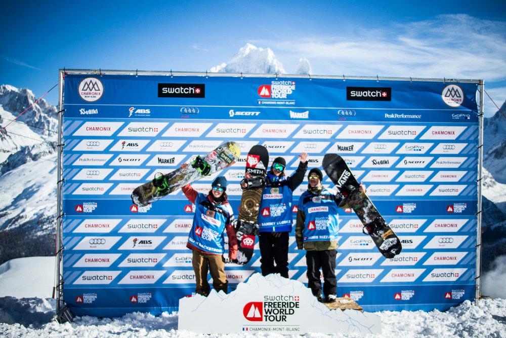Siegerehrung Snowboard Männer - © www.FreerideWorldTour.com | D. Daher