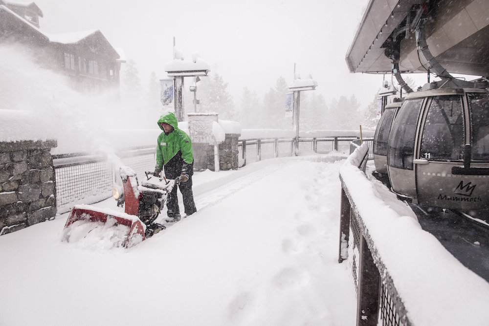 Life's good when the line for first chair at Mammoth Mountain starts with this guy.  - © Peter Morning