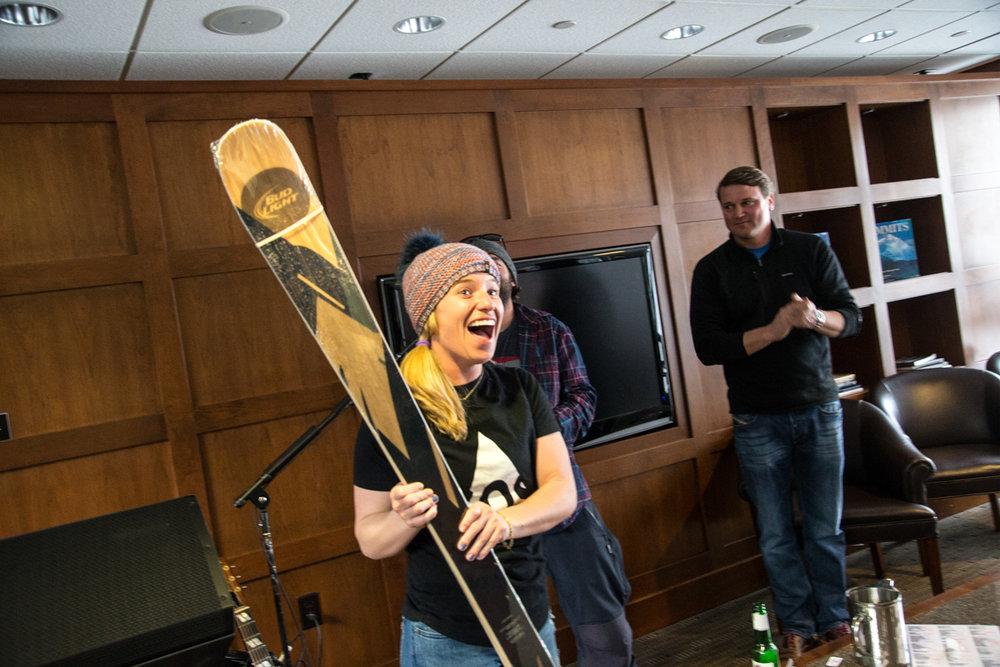 Ramp/Bud Light Ski raffle winner. - © Liam Doran