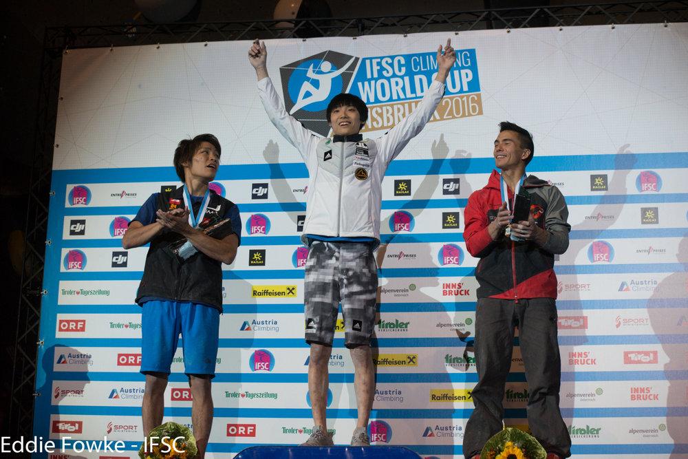 Jongwon Chon holte in Innsbruck den Sieg - ©IFSC | Eddie Fowke