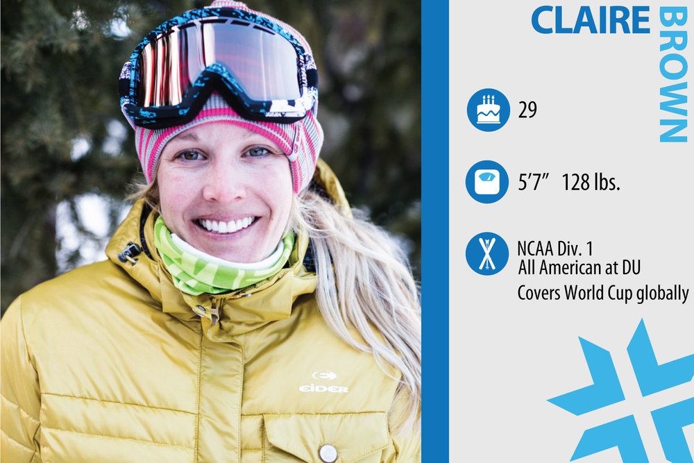 "Claire Brown. Job in real life: Publisher of Skiracing.com. Something from ski history that should make a comeback: ""We should bring back padded sweaters."" - © Liam Doran"