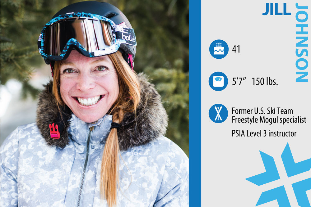 "Jill Johnson. Job in real life: Deer Valley Mountain Host, art therapist, Owner of Purity of Play. Testing skis is like… ""A giant play date. I love gathering with skiers who love the sport and want to share the joy of skiing. Snowbird is a dream playground to try new toys."" - © Liam Doran"