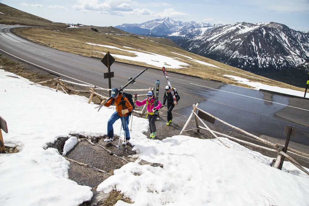 A quick approach from Trail Ridge Road allows skiers to access the wide snowfield of Sundance in Rocky Mountain National Park. - © Liam Doran