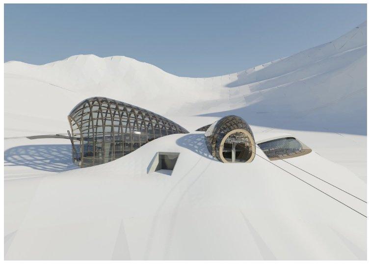 So soll das Zentrum der neuen Bergbahnen zwischen Sölden und dem Pitztal aussehen - © Baumschlager Hutter Partners