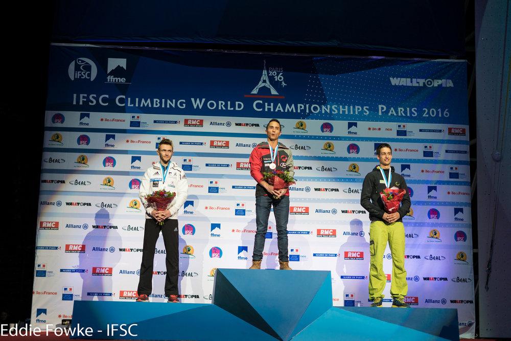 Podium in der Kombinationswertung Boulder, Lead & Speed: Sean McColl triumphierte, David Firnenburg holte Bronze - ©IFSC / Eddie Fowke