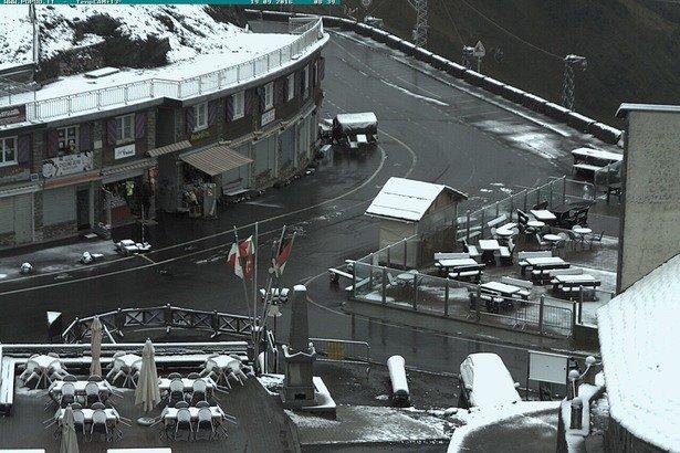 Første snøfall i Passo Stelvio 18. september 2016.  - © Webcam Passo Stelvio
