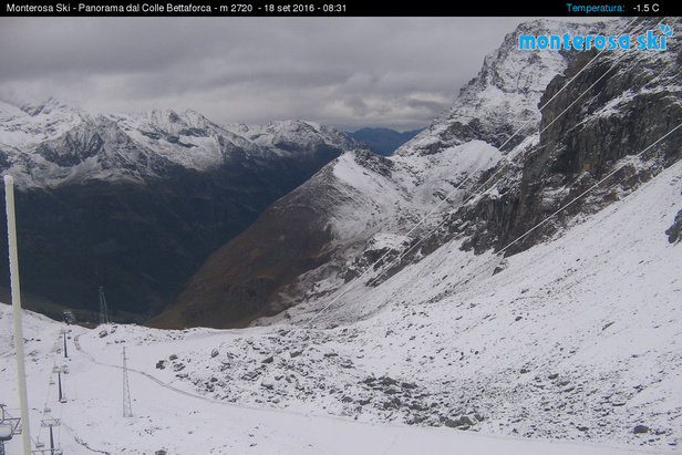 Gressoney La Trinité, prima neve 18.09.16 - © Webcam Monterosa