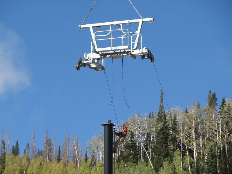 Building ski lifts in summer