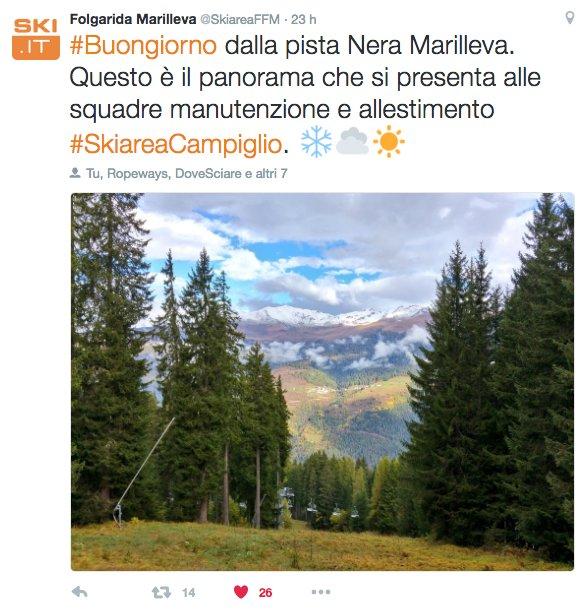 Folgarida - Marilleva, Ottobre 2016 - © Folgarida - Marilleva Skiarea Twitter