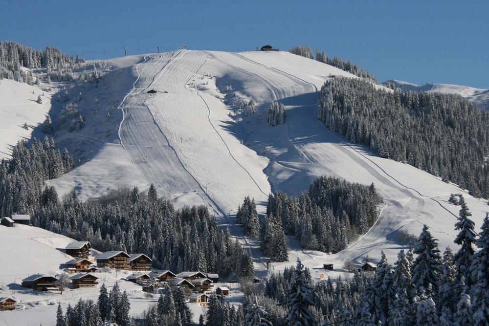 Conditions de ski idéales (neige fraiche et soleil généreux) sur le domaine skiable de Notre Dame de Bellecombe - © Office de Tourisme du Val d'Arly