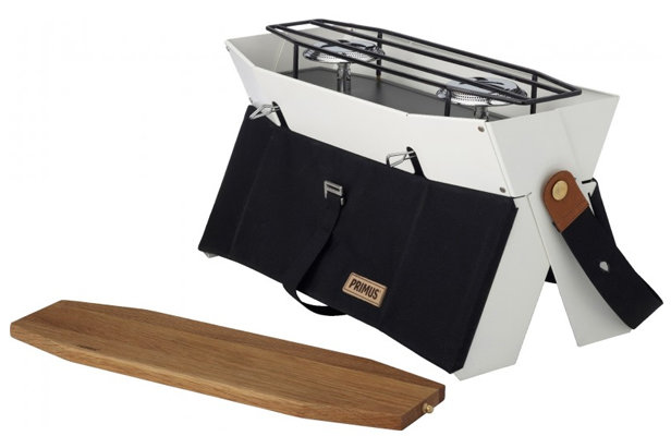 Primus Onja Stove: $137.05 You can't eat burgers and hot dogs if you don't have fire. Enter Primus' Onja two-burner stove. This portable gem slings over your shoulder for easy transport, and unfolds to reveal its very own cutting board when it's time to grill. The Onja is powered by Primus gas canisters.