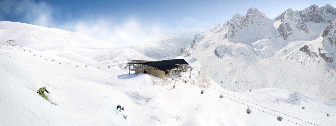 Lanovka Flexenbahn a dve nové lanovky Trittkopf spájajú od zimnej sezóny 2016/17 St. Anton a Zürs - © Ski Arlberg