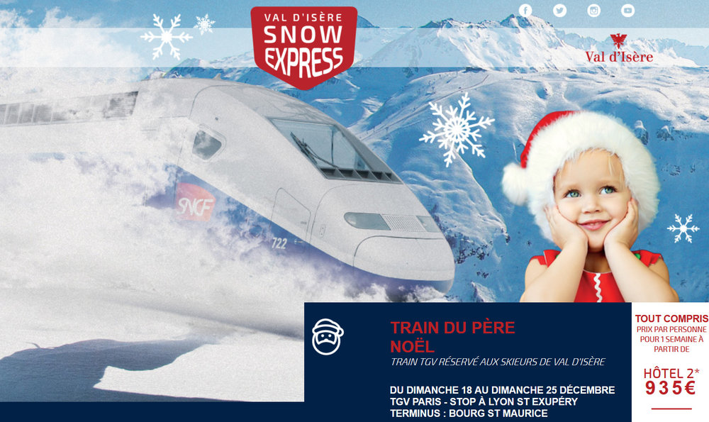 Le TGV Val d'Isère SNOW EXPRESS vient vous chercher à Paris pour un Noël magique