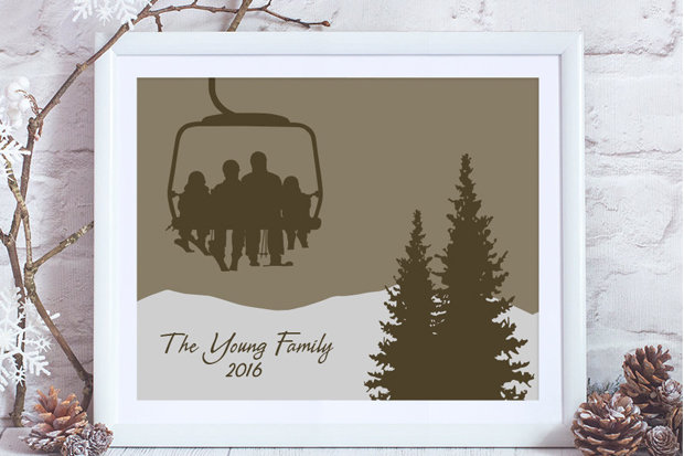 Wild Blue Dream Custom Chair Lift Family Art: $35-$70 Choose from a variety of colors and sizes, and enter custom text for the perfect family skier gift they'll hang on their wall and think of you year-round. Order by 12.18 in time for Christmas delivery; 10% of all sales go to Protect Our Winters through the end of the year.