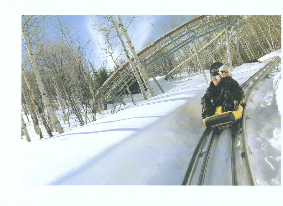 Risders on Spirit Mountain's Coaster in winter