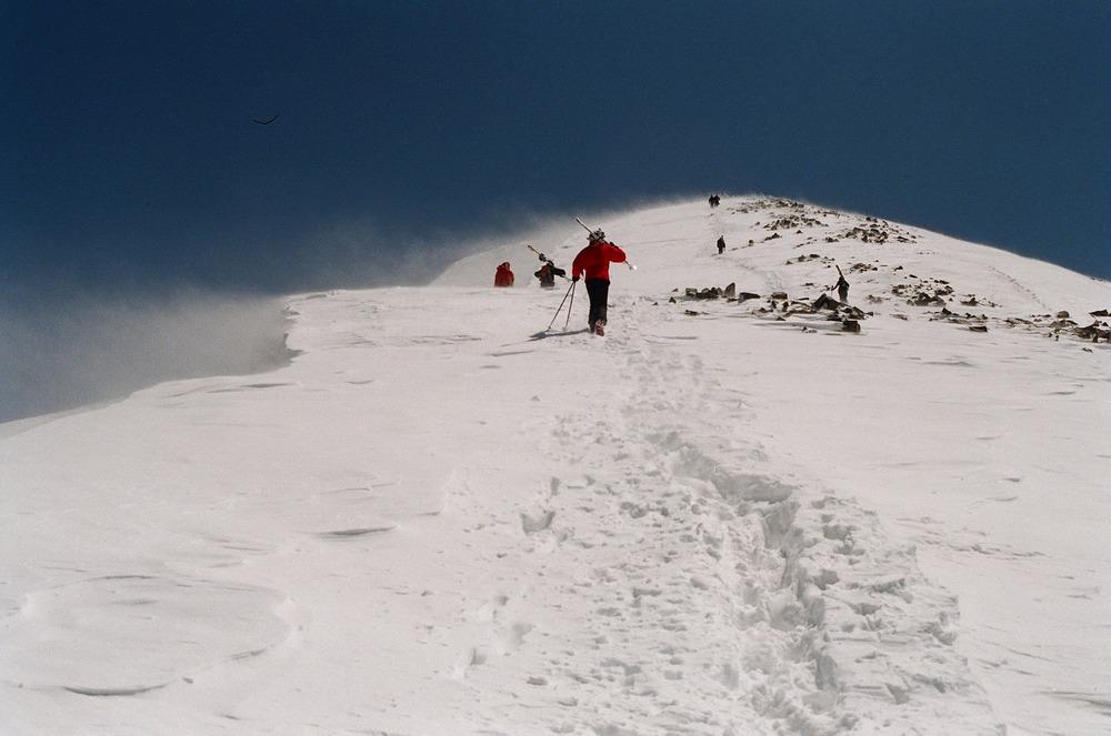 Skier hiking at Taos, NM.