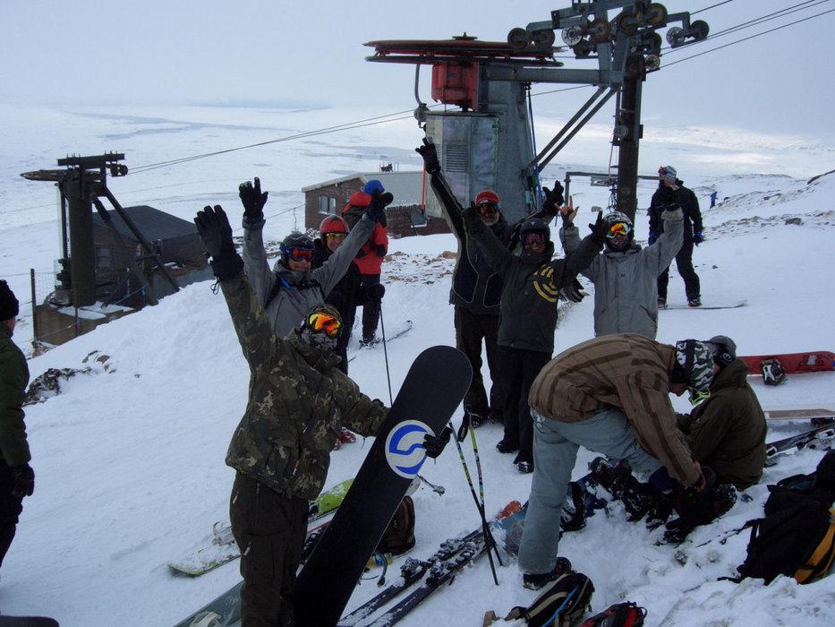 Snowboarders taking a break at Glencoe (Glencoe Mountain Ltd)