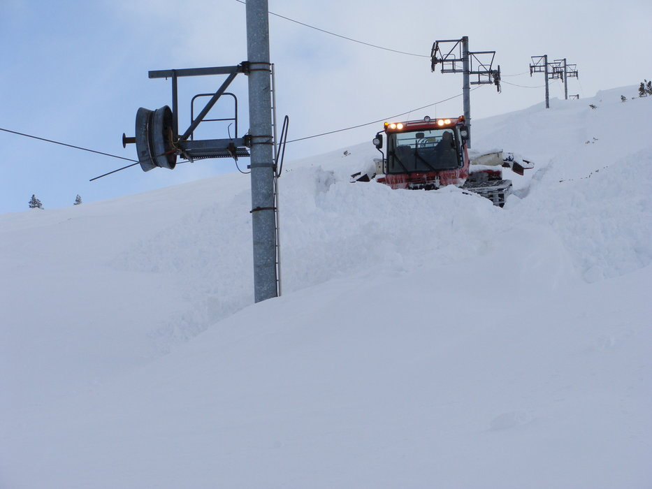 Snowcat managing the snow at Cairngorm Mountain