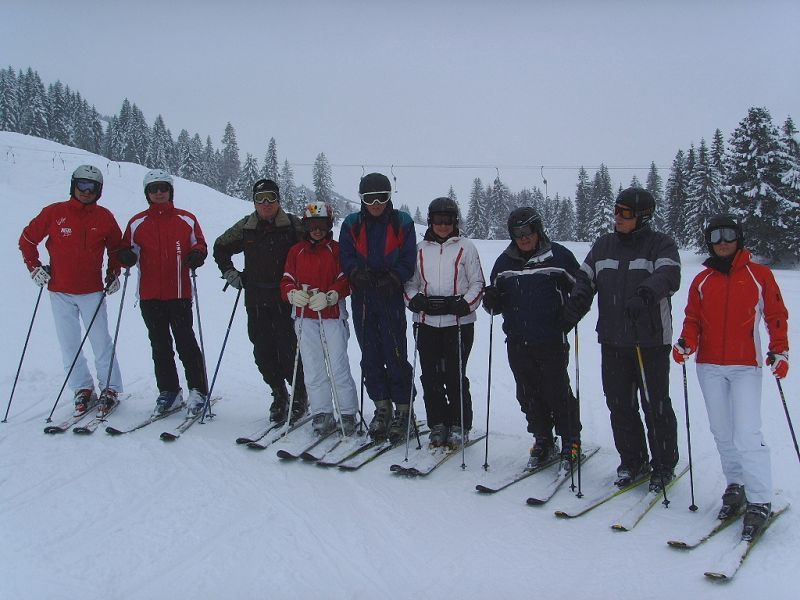 Skiers in Balderschwang, Germany