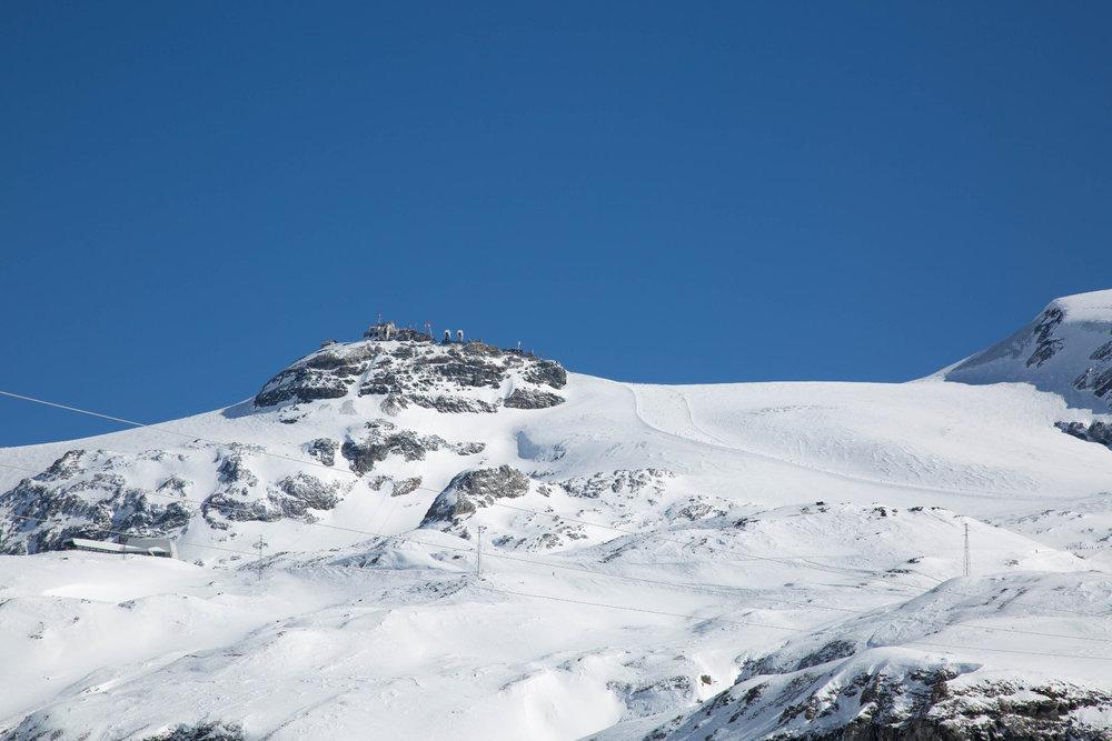 Blick auf Testa Grigia (3479 m ü. M) von Italien aus - © Skiinfo | Sebastian Lindemeyer