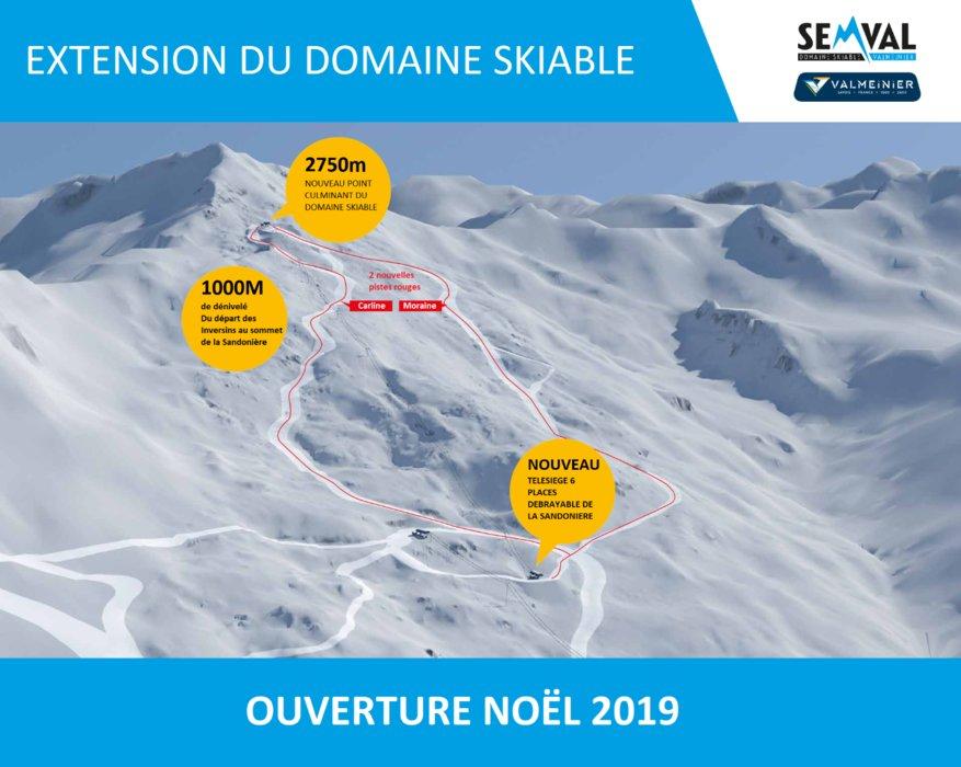 Avec un nouveau télésiège et deux nouvelles pistes rouges, le domaine skiable de Valmeinier s'offre un nouveau secteur de glisse et le point culminant du domaine Galibier-Thabor... - © SEMVAL