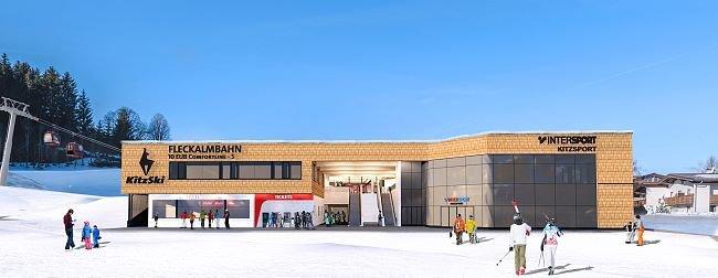 Nástupní stanice nové Fleckalmbahn v Kitzbühelu (vizualizace) - © Bergbahn Kitzbühel AG