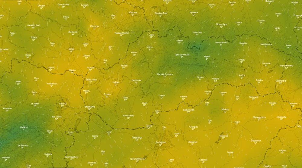 Predpoveď vývoja teplôt na najbližších 10 dní - © windy.com