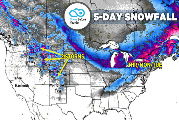 Tomer's Take: On Friday ski Steamboat, Loveland, A-Basin, Breckenridge or Winter Park, on Saturday ski Schweitzer, Whitefish, Big Sky or Banff, and on Sunday ski Banff (looks very windy though) or in the Northeast. - © Meteorologist Chris Tomer