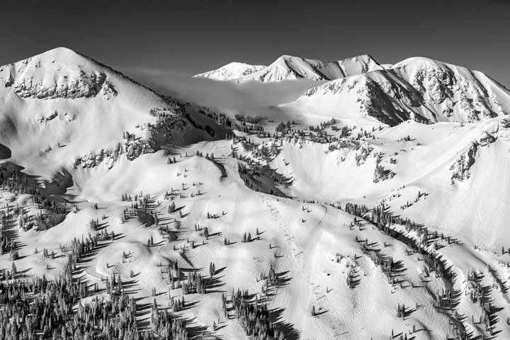 Landscape shot of Sugarloaf pass, the upper reaches of Albion basin with Mt Baldy in the background. Black and white. - © Jay Dash