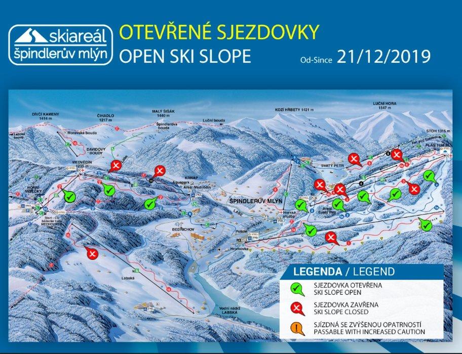 Špindlerův Mlýn - otevřené sjezdovky k 21.12.2019 - © facebook - Skiareál Špindlerův Mlýn