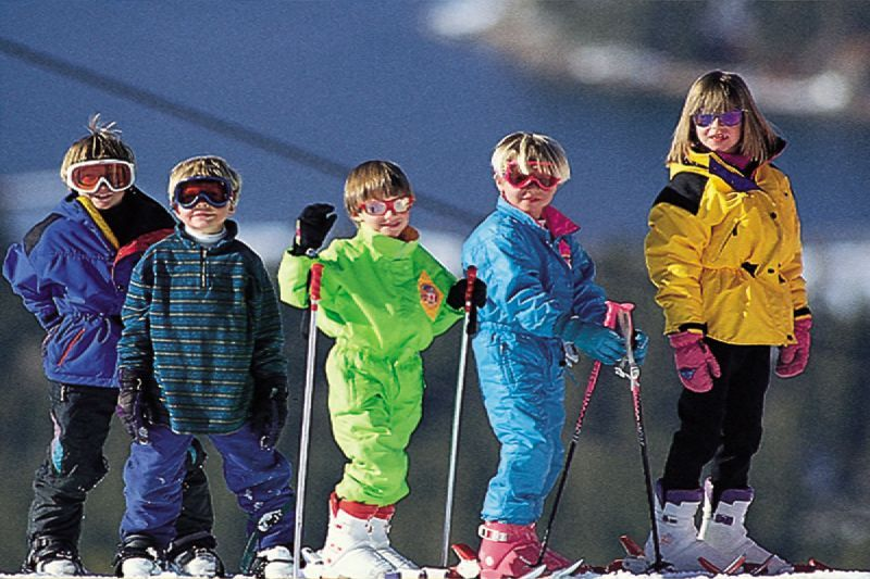 Kids enjoying lessons at Snow Summit, California