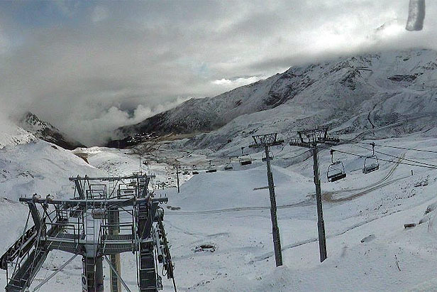 First snow on Les Arcs ski area