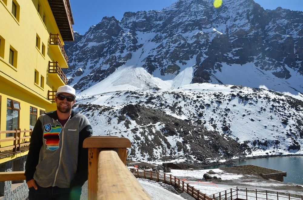 Travis hangs out at the Portillo Hotel which has one of the best views in the world - © Travis Ganong