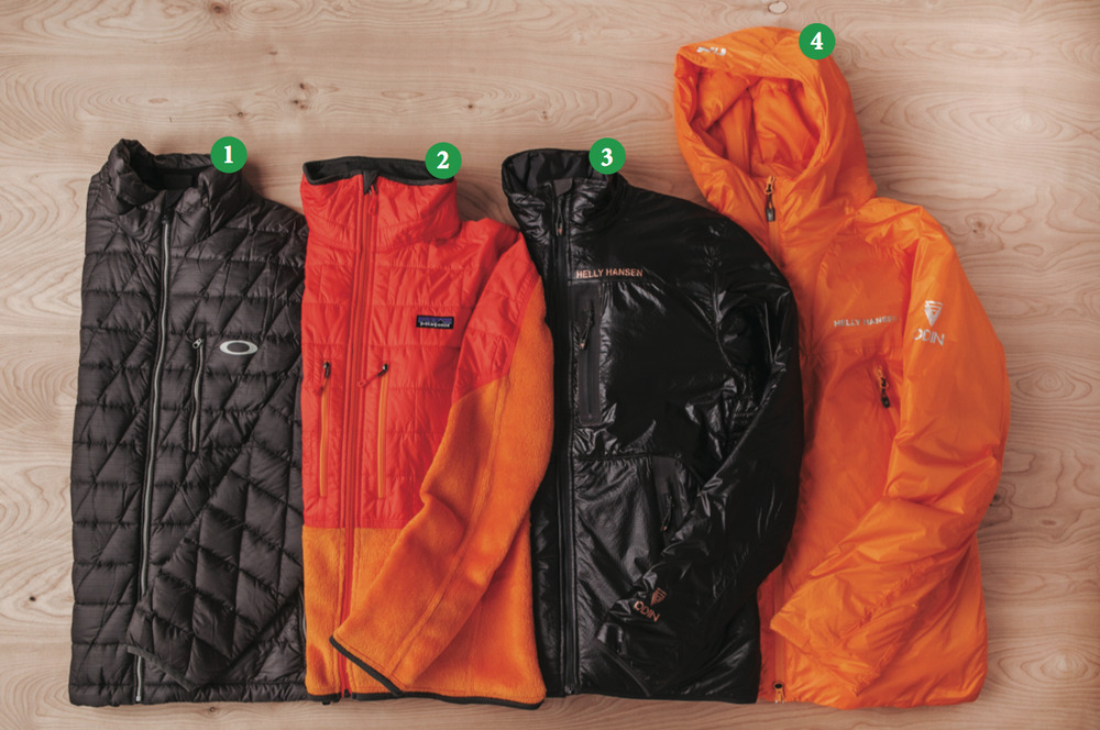 Mens Puffy Jackets: 1) Oakley Unification Down Jacket; 2) Patagonia Nano Puff® Hybrid Jacket; 3) Helly Hansen Odin Isolator Jacket; 4) Odin Hooded Belay Jacket - © Julia Vandenoever