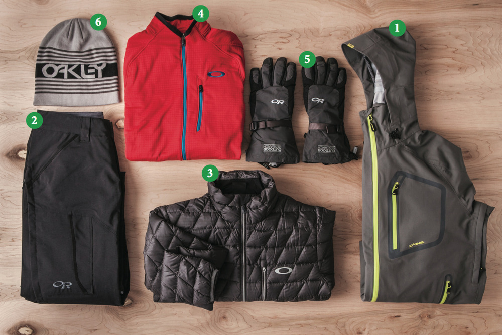 Men's Outfit #2: 1) Dakine Clutch Jacket; 2) Outdoor Research Blackpowder Pants; 3) ) Oakley Unification Down Jacket; 4) Oakley Unification Power Dry Jacket; 5) Outdoor Research Ambit Gloves; 6) Oakley Snowmad Deepie Beanie  - © Julia Vandenoever