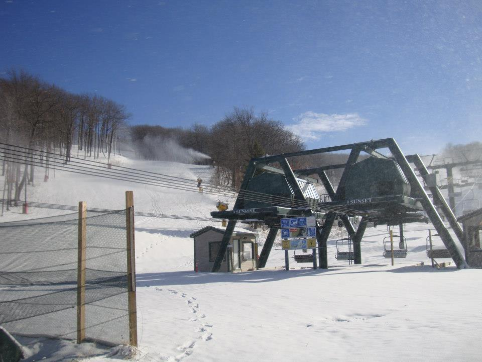 Snowmaking at the base of Hidden Valley. Photo Courtesy of Hidden Valley Four Seasons Resort.