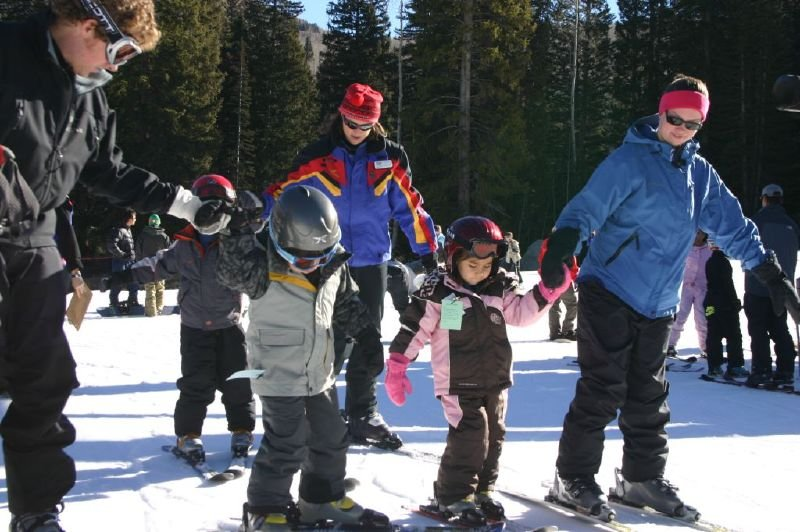Kids learning to ski at Solitude Mountain Resort, Utah