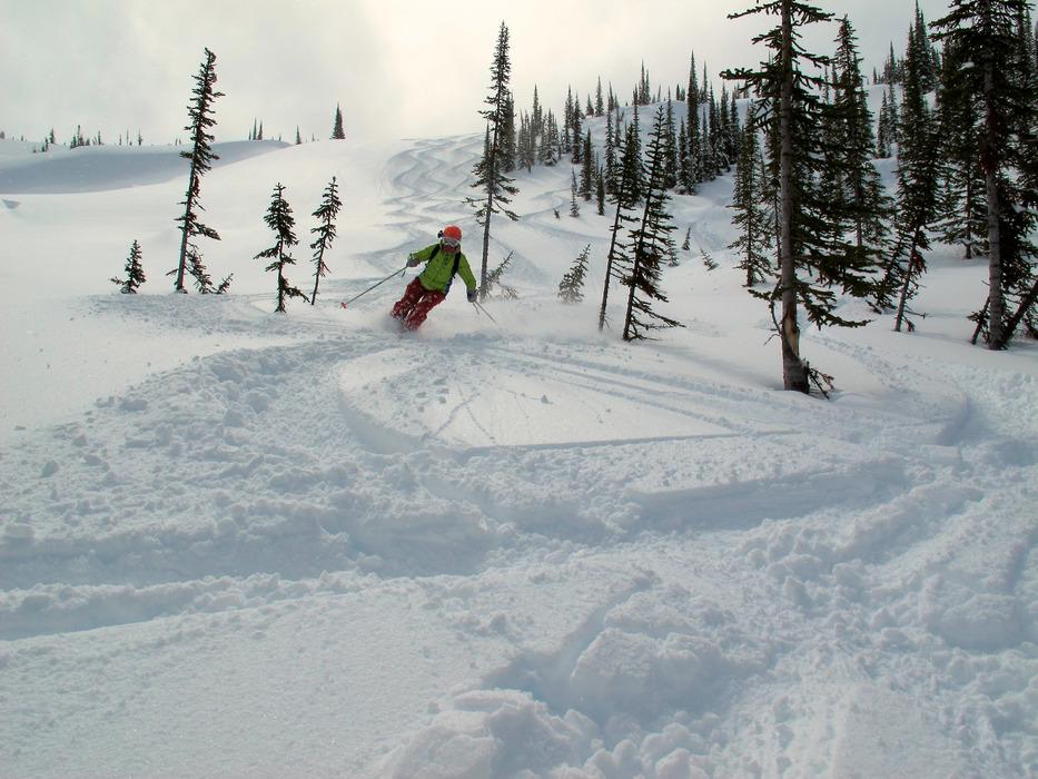 Linda Guerrette skiing powder. - © Krista Crabtree
