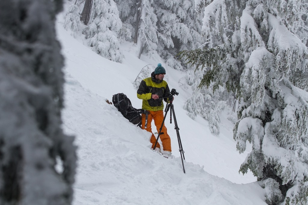 Mike sets up a shot during filming at Mt. Hood Meadows - © Liam Doran