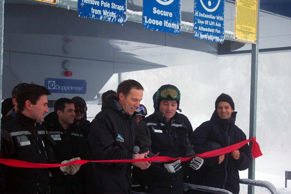 Eddie Wood, Kevin Sansalone, and Mt Seymour employees open the Mystery Peak Express. Photo courtesy of Mt. Seymour.
