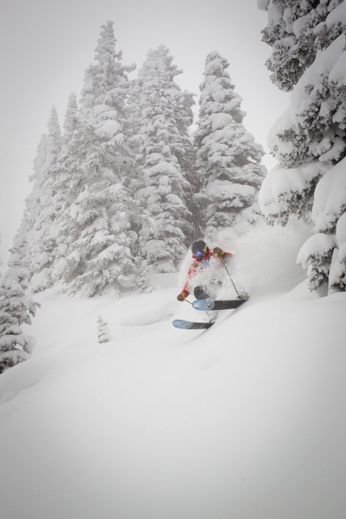 Bo Jacobs skis in Vail on Sunday.  Vail opened almost all of the front side of the mountain. - © Jeff Cricco