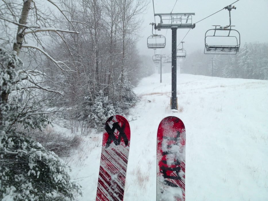 A number of resorts in northern New England saw their first powder day of the season this past week, including Attitash Mount Resort in New Hampshire where about eight inches of snow fell on Monday, December 17. - © Brian Clark