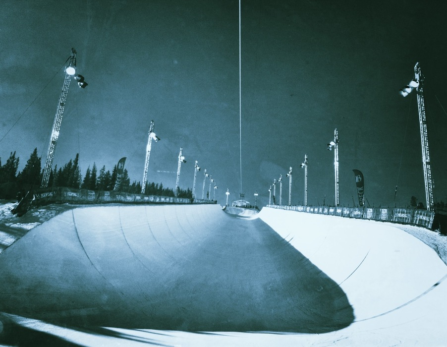 The calm before the storm in the Breckenridge halfpipe prior to the Dew Tour. - © Meg Olenick
