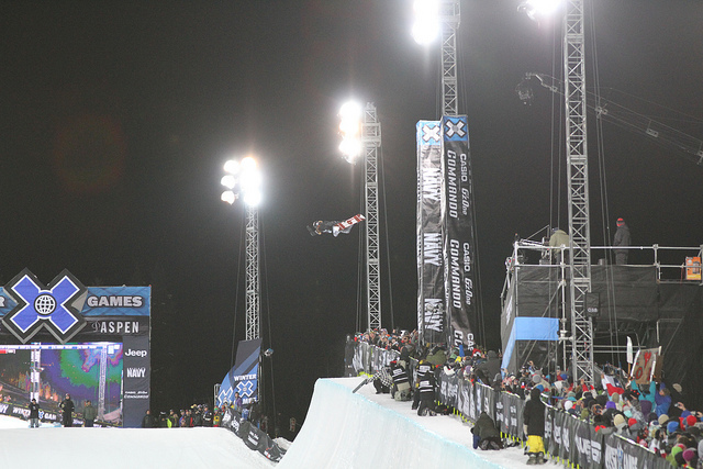 Shaun White gets high in his first run in the SuperPipe. - ©Tim Shisler
