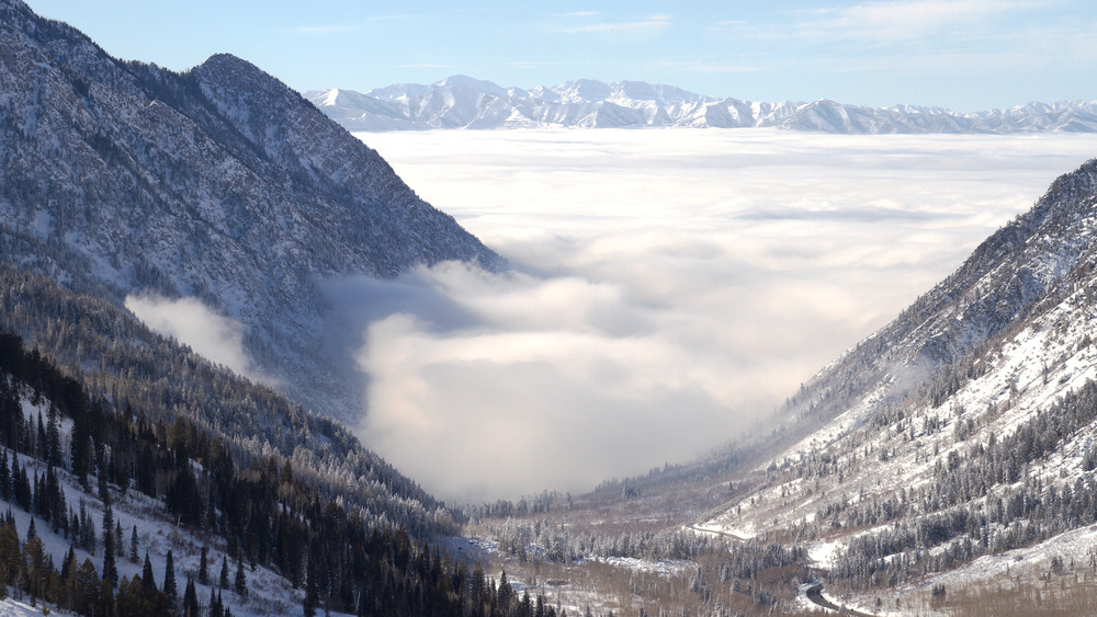 When an inversion settles into the Salt Lake valley, it's a warm, blue bird day on the mountains in Little Cottonwood. - ©Courtesy of Snowbird Resort