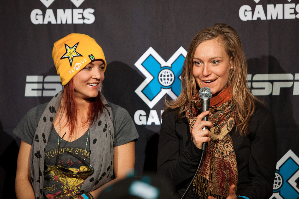 Elena Hight (left) and Jamie Anderson (right) answer a question about X Games fashion at the kick-off press conference - © Jeremy Swanson