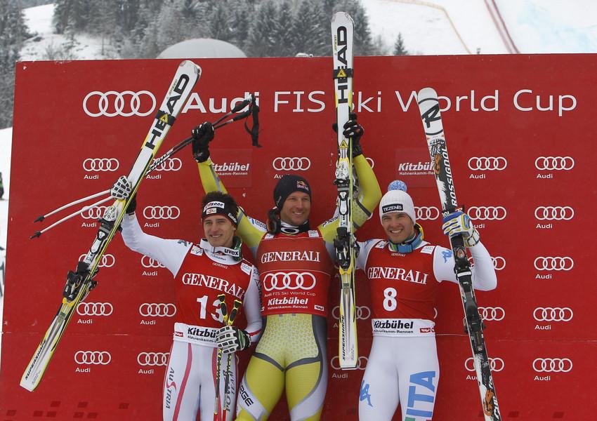 Das Podium beim Super-G in Kitzbühel 2013: Aksel Lund Svindal (NOR), Matthias Mayer (AUT), Christof Innerhofer (ITA) - © Alexis Boichard/Agence Zoom
